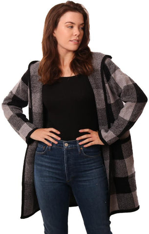 METRIC JACKETS OPEN FRONT PLAID PRINT HOODED COZY CARDI COAT