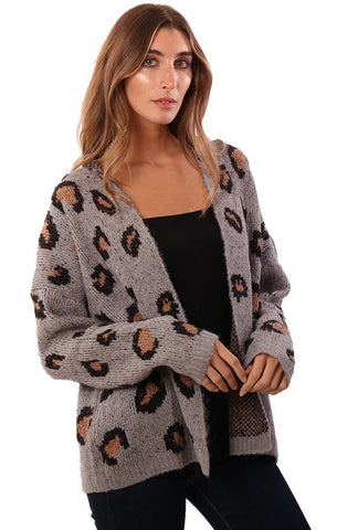 HEM AND THREAD CARDIGANS LEOPARD PRINT OPEN FRONT GREY KNIT CARDI