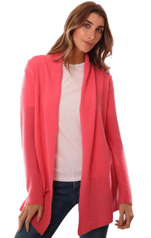 IN CASHMERE CARDIGANS LONG SLEEVE OPEN FRONT SOFT SALMON CARDI