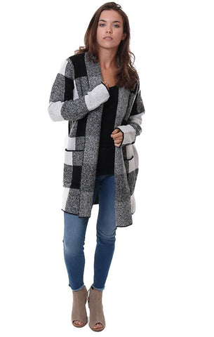 STACCATO JACKETS GINGHAM LONG SLEEVE COZY FALL SWEATER COAT