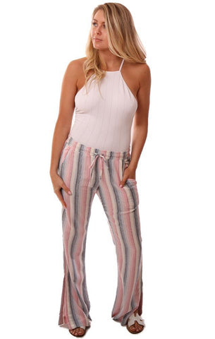 Bella Dahl Pants Wide Leg Flowy Striped Tie Waist Pant