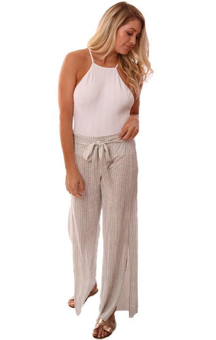 Grey State Pants High Waisted Tie Front Side Slit WIde Leg Flowy Striped Pant