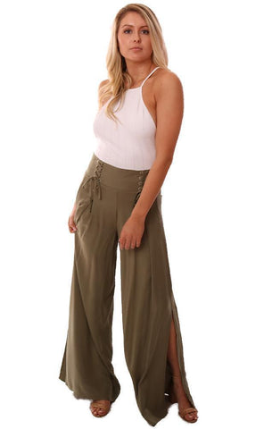 BB Dakota Pants Flowy Slit Lace Up Front HIgh Waisted Green Wide Leg Pant