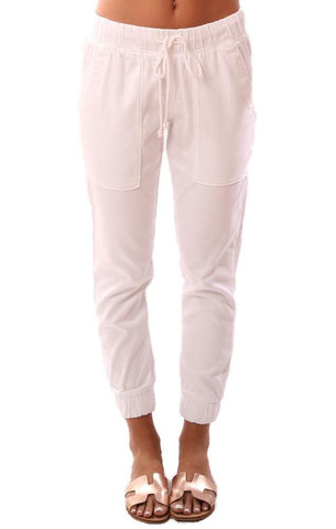 BELLA DAHL PANTS DRAWSTRING WAIST WHITE POCKET JOGGER PANT