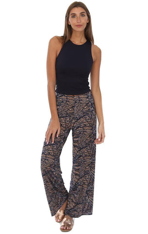 Veronica M Pants Flowy HIgh Waisted Wide Leg Printed Bold Color Pant
