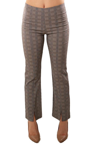 CLARA SUNWOO PANTS SLIT ANKLE CENTER SEAM PLAID STRETCH PULL ON PANT