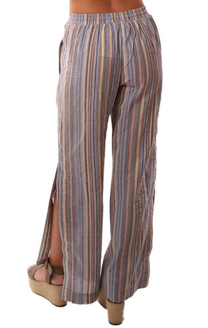 STORIA PANTS EASY PULL ON DRAWSTRING SLIT WIDE LEG STRIPED FLOWY SUMMER PANTS