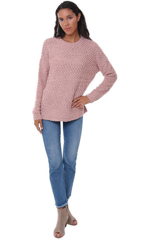 SWEATERS FLUFFY PULLOVER LONG SLEEVE COZY WARM FALL PINK SWEATER