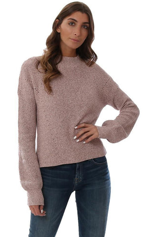525 AMERICA SWEATERS MOCK NECK SHAKER COTTON KNIT PINK COMFY PULLOVER SWEATER