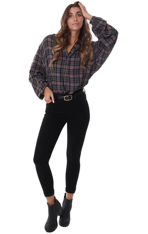 FREE PEOPLE TOPS PLAID BUTTON FRONT LONG SLEEVE COMFY GREY / BLACK PULLOVER FLANNEL