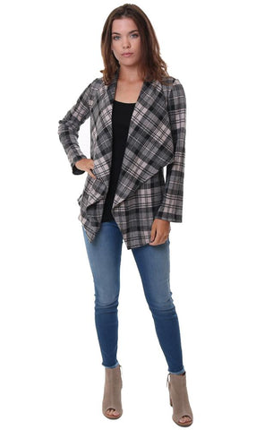 BB DAKOTA JACKETS PLAID DRAPE FRONT LONG SLEEVE FALL COAT