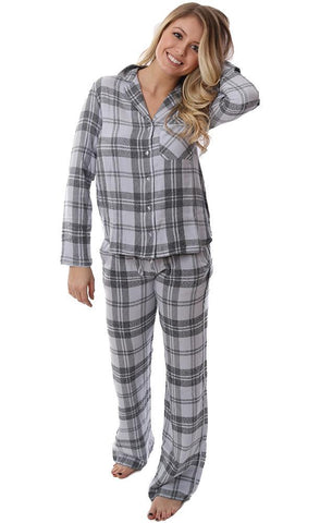 BELLA DAHL GIFT SETS PAJAMAS SLEEP SHIRT & WIDE LEG BOTTOMS BLUE LAVENDER PLAID LIGHTWEIGHT FLANNEL SET