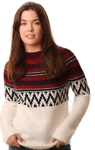 BB DAKOTA SWEATERS LONG SLEEVE CREW NECK MULTI STRIPED BLUE RED IVORY KNIT PULLOVER
