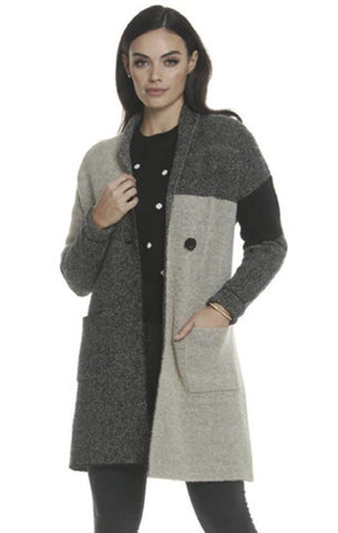 CARDI WITH POCKETS METRIC COZY COLOR BLOCK FALL JACKET