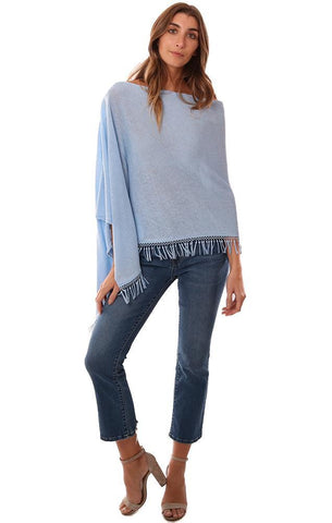 In Cashmere Poncho Tassel Trim FLowy Light Blue Topper