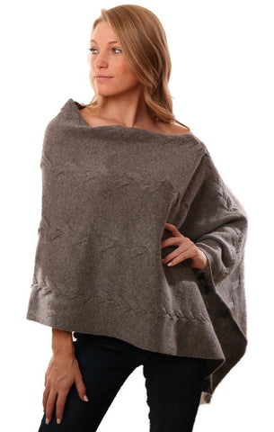 IN CASHMERE PONCHOS CABLE KNIT SOFT GREY TOPPER