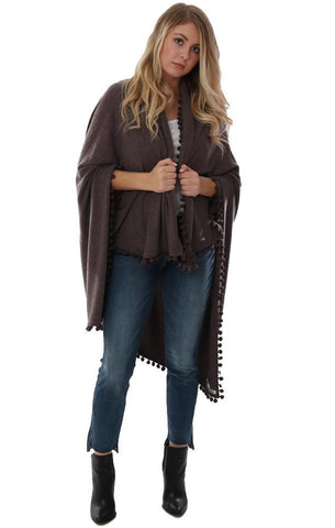MICHAEL STARS WRAPS SHAWL POM POM TRIM SOFT KNIT BLANKET WRAP