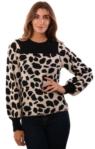 CENTRAL PARK WEST SWEATERS LEOPARD PRINTED BLACK IVORY KNIT PULLOVER SWEATER