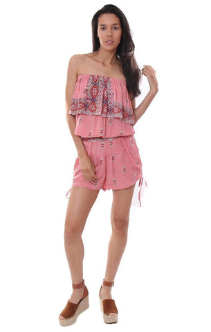 Raga Two Piece Set Pink Printed Boho Shorts Strapless top