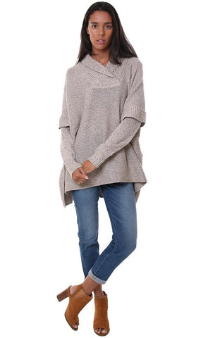 tops long sleeve poncho style tan cozy oversized pullover sweater