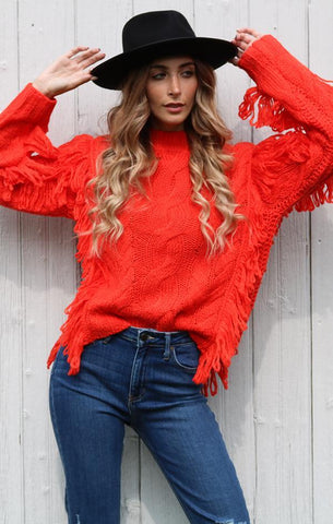 CABLE FRINGE PULLOVER 525 AMERICA BOHO CHIC FALL SWEATER