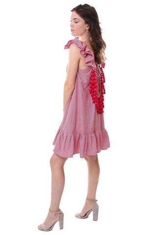 sundress dresses gingham check pom poms ruffles dress