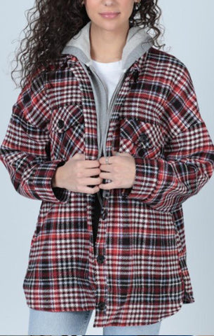 BARNES BUTTON DOWN HOODIE CENTRAL PARK WEST RED PLAID SHIRT JACKET