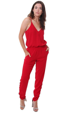 AMANDA UPRICHARD JUMPSUITS RACER BACK SMOCKED WAIST RUCHED ANKLE RED JUMPER