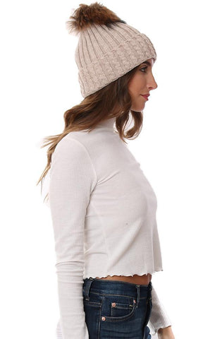 HATS CABLE KNIT FOLDOVER FUR POM POM BEANIE BEIGE WINTER HAT