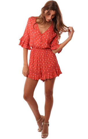 ROMPERS RUFFLE SLEEVE V NECK BUTTON FRONT CINCHED WAIST PRINTED CORAL JUMPER