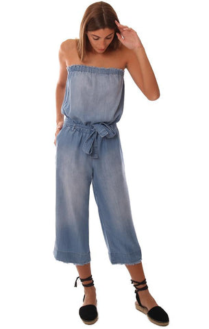 BELLA DAHL JUMPSUITS STRAPLESS FRAYED CROP WIDE LEG TIE WAIST DENIM JUMPER