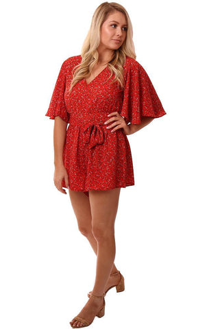 BB Dakota Rompers Kimono Flare Sleeve V Neck Tie Waist Red Floral Printed Romper