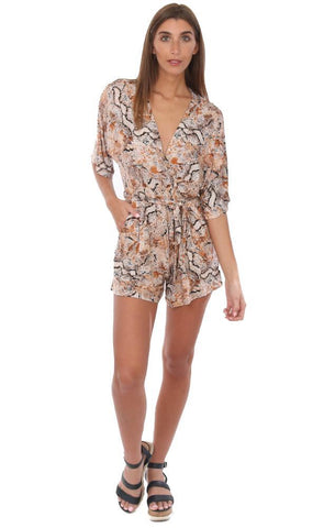 Veronica M Rompers Tie Waist V neck Cross Front Printed Colorful Resort Wear One Piece Romper