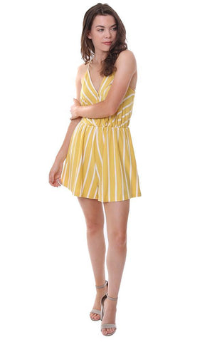 ENTRO ROMPERS RACERBACK STRIPED YELLOW / WHITE LIGHTWEIGHT SUMMER JUMPER
