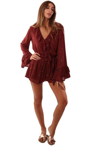 SUNDRESS ROMPERS RUFFLE V NECK LONG BELL SLEEVE SEQUIN BURGUNDY JUMPER