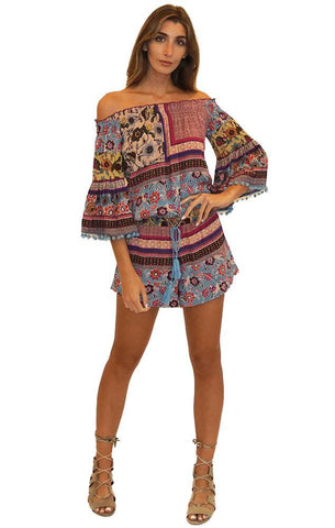 RAGA ROMPERS OFF THE SHOULDER POM POM TRIM BELL SLEEVE PRINTED BOHO ROMPER