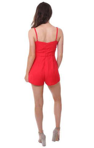 WILD HONEY ROMPERS TIE FRONT RED SUMMER JUMPER