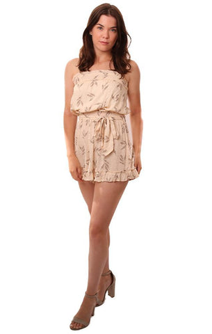 SKYLAR AND MADISON ROMPERS STRAPLESS TIE WAIST RUFFLE TRIM LEAF PRINTED CREAM JUMPER