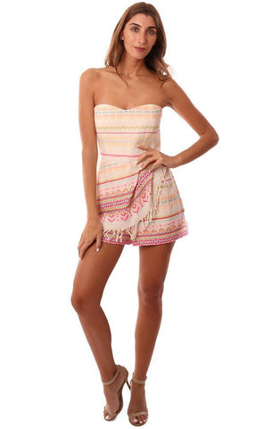 AMANDA UPRICHARD ROMPERS STRAPLESS TRIBAL PRINTED COLORFUL ONE PIECE WRAP JUMPER