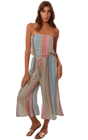 JUMPSUITS STRAPLESS TIE WAIST CROP WIDE LEG STRIPED FLOWY BEACH JUMPER