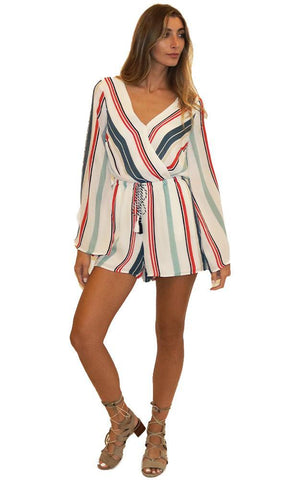 CUPCAKES AND CASHMERE ROMPERS V NECK LONG FLARE SLEEVE STRIPED ROMPER
