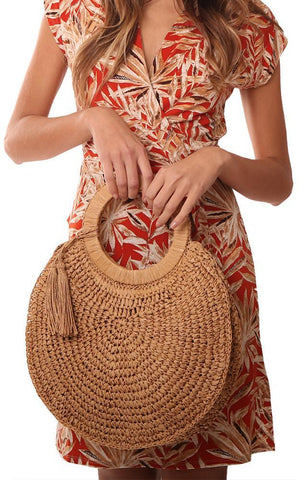 HANDBAGS WOVEN STRAW GRASS ROUND TAN TASSEL TOTE
