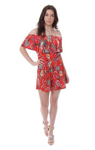 VERONICA M JUMPERS OFF THE SHOULDER PRINTED RED ROMPER