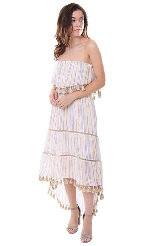 f41c874f533 ... Saylor dresses strapless multi rainbow striped tassel trim sun dress