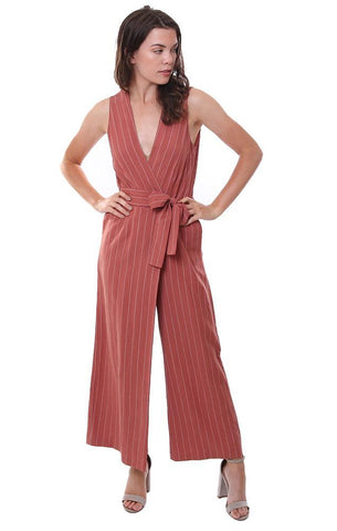 Saylor Jumpsuits V Neck Pinstripe Tie Waist Sleeveless Wide Leg Rust Red Chic Jumpsuit