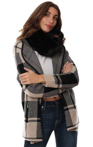 SCARVES FAUX FUR BLACK SOFT INFINITY TUBE SCARF