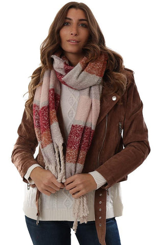 SCARVES TASSEL TRIM WIDE STRIPE COLOR BLOCK SOFT BURGUNDY PINK GREY COZY BLANKET SCARF