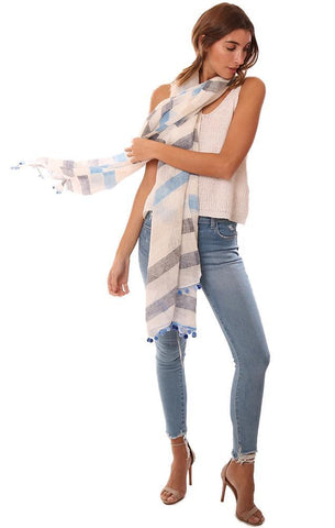 In Casmere Scarves Pom Pom Trim Blue White Linen Striped Scarf