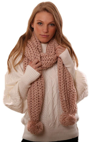 SCARVES KNIT SOFT PINK KNITTED POM POM WINTER SCARF