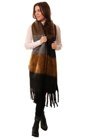 SCARVES COLOR BLOCK FRINGED CHUNKY WINTER SCARF